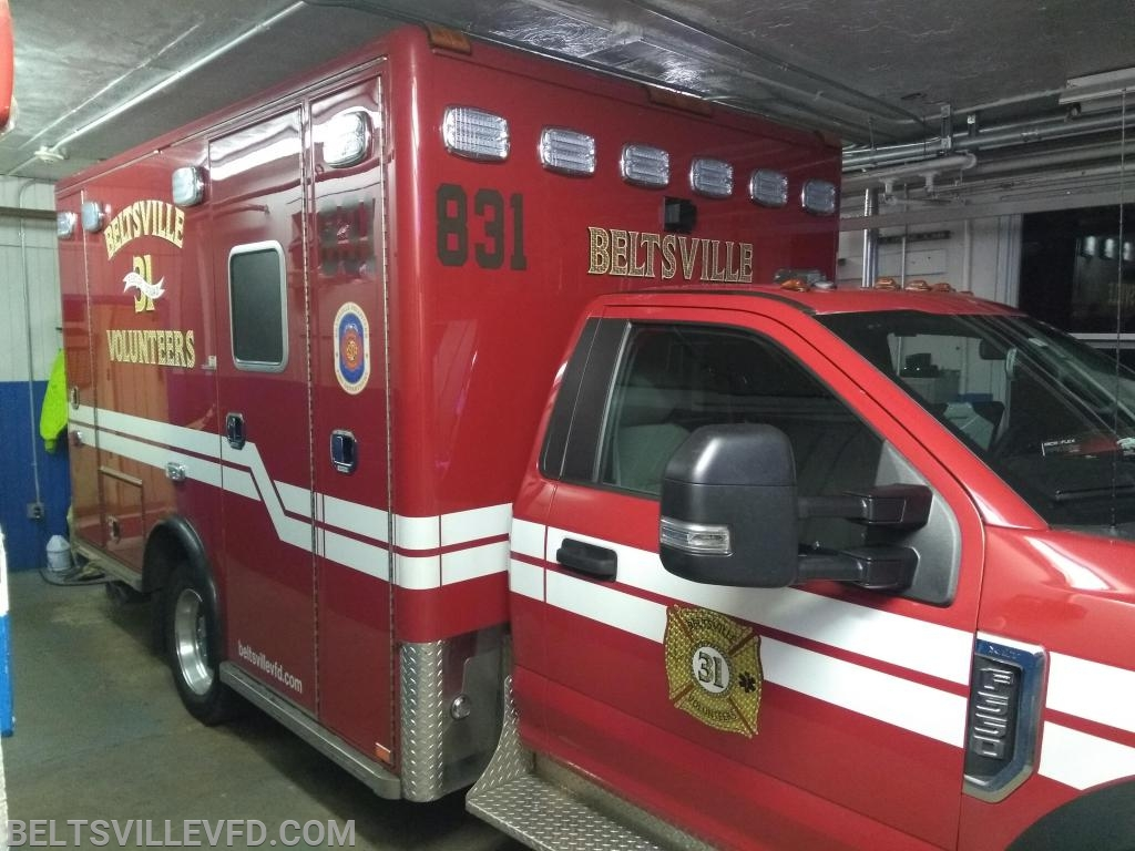 A rare moment at rest, in quarters,  for Beltsville's ambulance